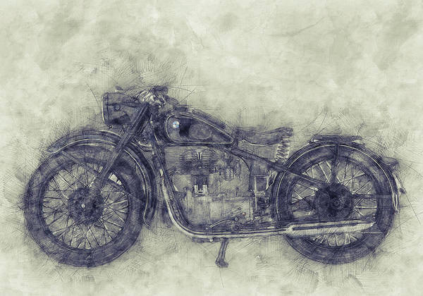 Wall Art - Mixed Media - Bmw R32 - 1919 - Motorcycle Poster 1 - Automotive Art by Studio Grafiikka