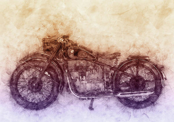 Wall Art - Mixed Media - Bmw R32 - 1919 - Motorcycle Poster  2 - Automotive Art by Studio Grafiikka