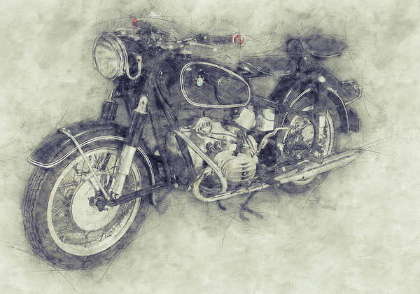 Wall Art - Mixed Media - Bmw R60/2 - 1956 - Bmw Motorcycles 1 - Vintage Motorcycle Poster - Automotive Art by Studio Grafiikka