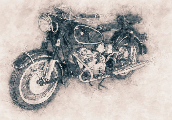 2 Mixed Media - Bmw R60/2 - 1956 - Bmw Motorcycles - Vintage Motorcycle Poster - Automotive Art by Studio Grafiikka