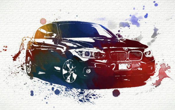 Collector Car Painting - Bmw Watercolor Splash On Brick by Dan Sproul