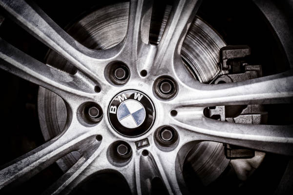 Wall Art - Photograph - Bmw Wheel Emblem -0049ac by Jill Reger