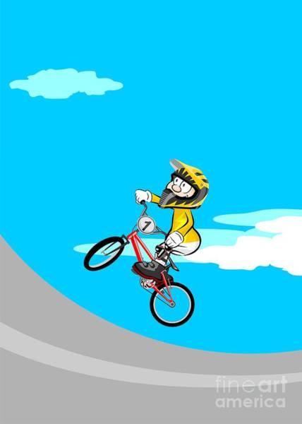 Digital Art - Bmx Kid Rider Jumping And Flying by Daniel Ghioldi
