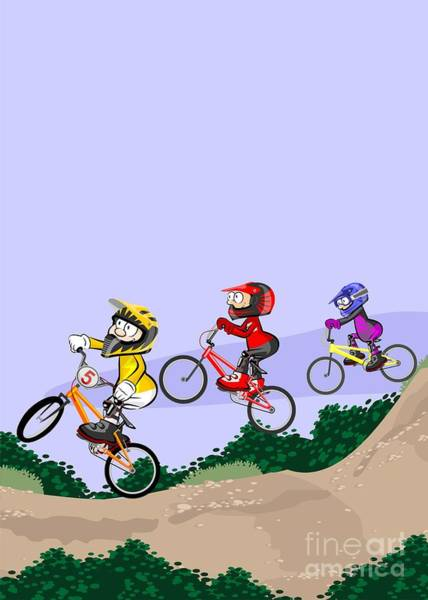 Digital Art - Bmx Riders Competing In The Child Class by Daniel Ghioldi