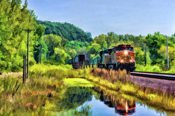 Painting - Bnsf Scenic Freight Train by Christopher Arndt