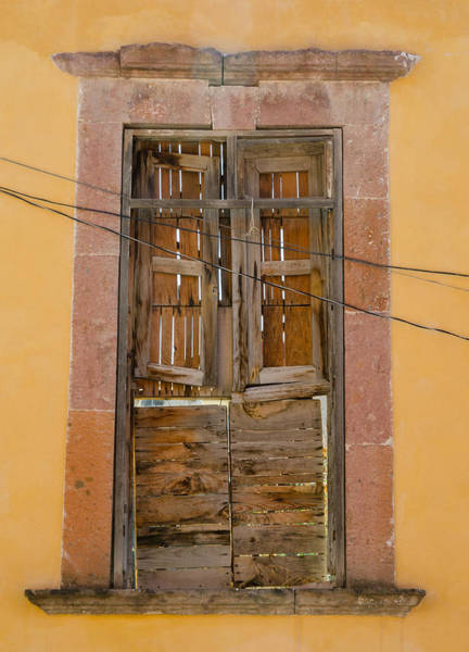 Photograph - Boarded-up Window And Wires. by Rob Huntley