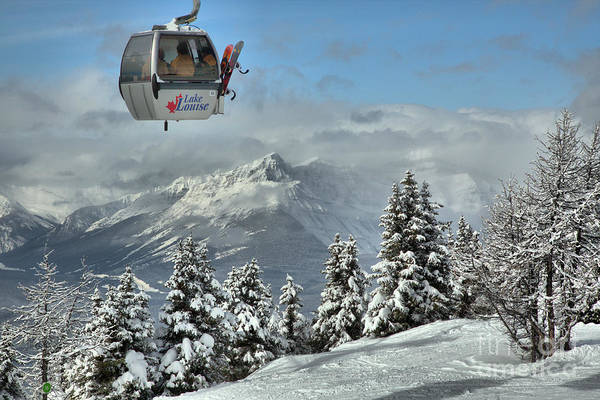 Photograph - Boarders On The Lake Louise Gondola by Adam Jewell