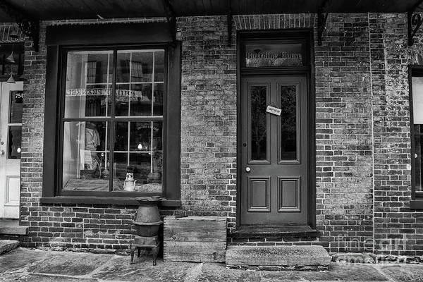 Photograph - Boarding House Open Black And White by Karen Adams
