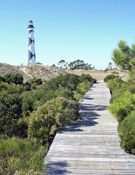 Harkers Island Photograph - Boardwalk At Cape Lookout Lighthouse by Steve Gass