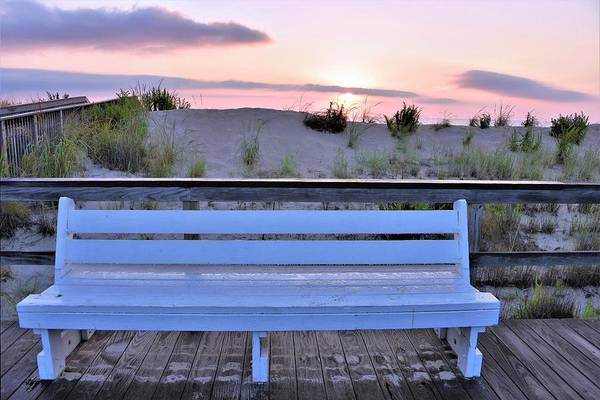Photograph - A Welcome Invitation -  The Boardwalk Bench by Kim Bemis