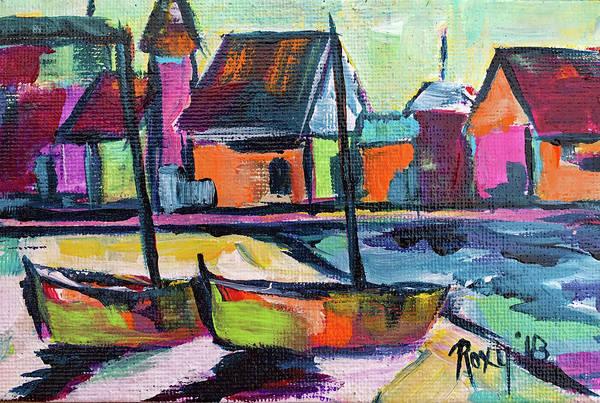 Transportation Painting - Boardwalk Boats by Roxy Rich