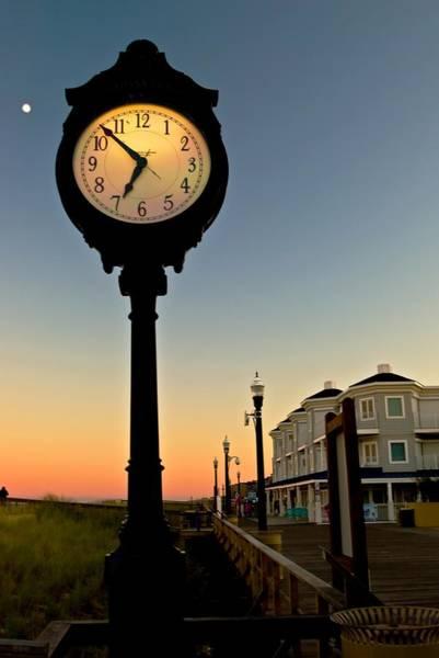 Boardwalk Clock With Rising Moon. Bethany Beach. Art Print