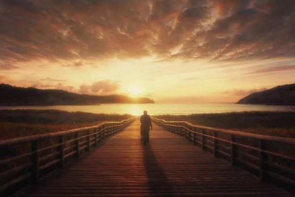 Photograph - boardwalk in Gorliz by Mikel Martinez de Osaba
