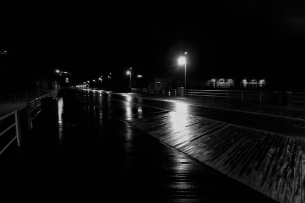 Boardwalk In The Still Of The Night Art Print