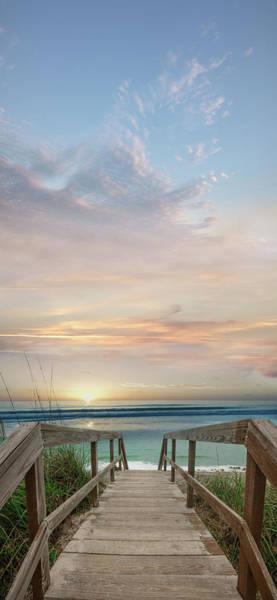 Photograph - Boardwalk Into Blue by Debra and Dave Vanderlaan