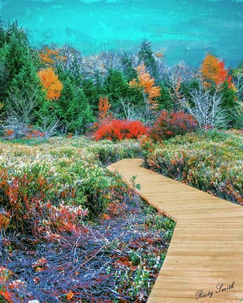 Digital Art - Boardwalk Through Autumn Nature by Rusty R Smith