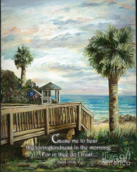 Digital Art - Boardwalk With Lifeguard Psalm 143 by Janis Lee Colon