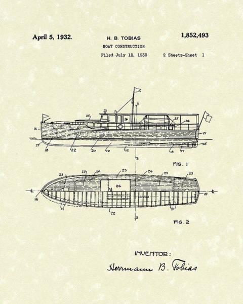 1932 Wall Art - Drawing - Boat 1932 Patent Art by Prior Art Design