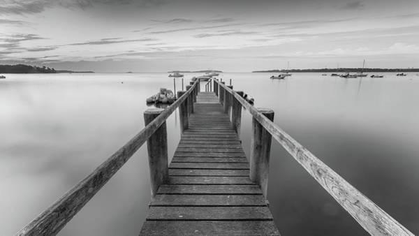 Wall Art - Photograph - Boat Dock At Sunrise Black-and-white Panorama by Dapixara Art