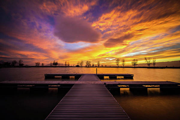 Photograph - Boat Dock Sunset by Wesley Aston