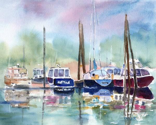 Mooring Painting - Boat Harbor In Fog by Carlin Blahnik CarlinArtWatercolor
