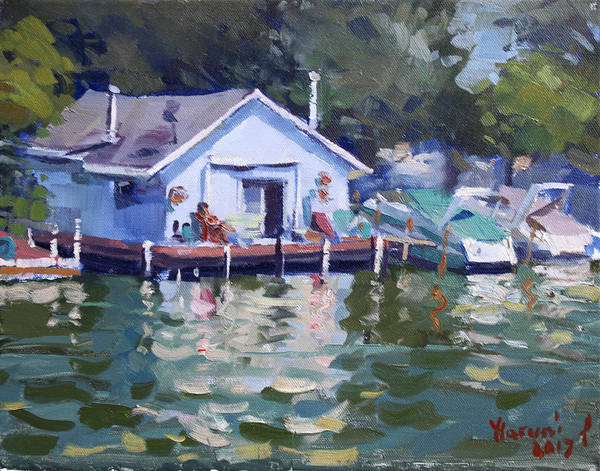 Tonawanda Wall Art - Painting - Boat House At Tonawanda Canal by Ylli Haruni