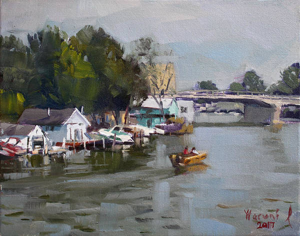 Tonawanda Wall Art - Painting - Boat Houses At North Tonawanda by Ylli Haruni