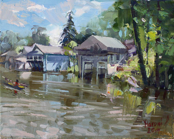 Tonawanda Wall Art - Painting - Boat Houses by Ylli Haruni