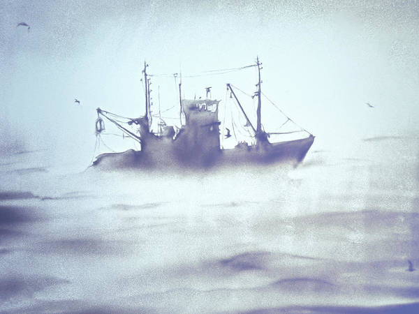Painting - Boat In The Foggy Sea by Elena Vedernikova