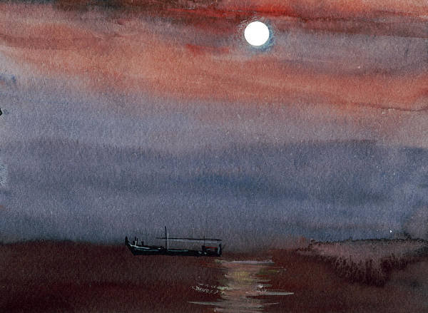 Painting - Boat In The Moon by Anil Nene