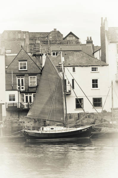 Photograph - Boat In The Whitby Harbour Bw by Robert Sidebottom