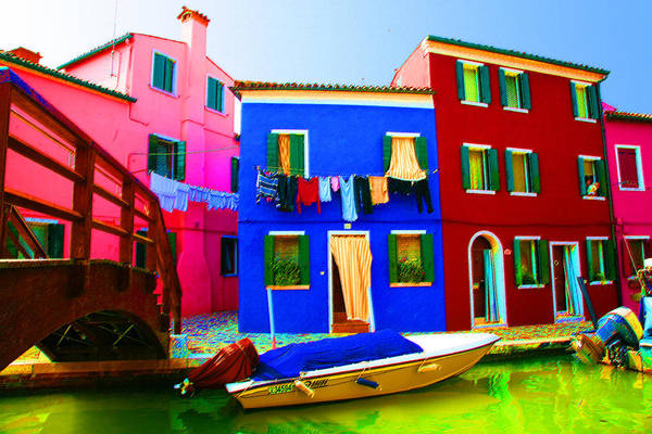 Pastel - Boat Matching House by Donna Corless
