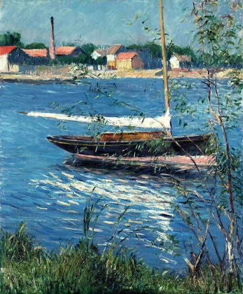 Wall Art - Painting - Boat Moored On The Seine At Argenteuil by Gustave Caillebotte