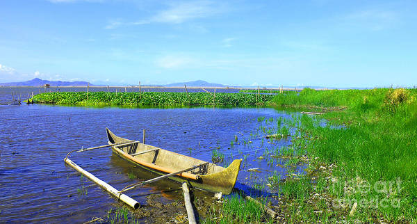 Photograph - Boat On Laguna De Bay Lake by Christopher Shellhammer