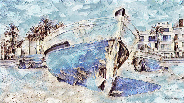 Boat On Sand Of A Beach Shore Art Print
