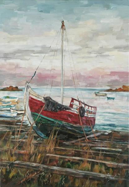 Boat On The Shore Art Print