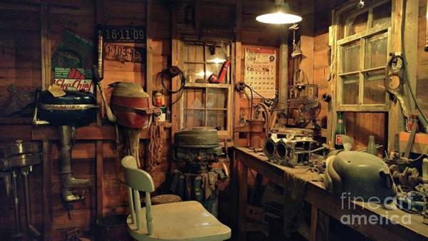 Outboard Photograph - Boat Repair Shop by Benanne Stiens