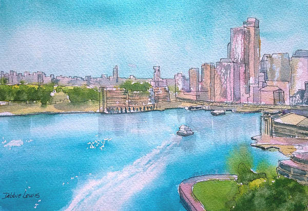 Painting - Boat Ride Around Sydney Harbor by Debbie Lewis