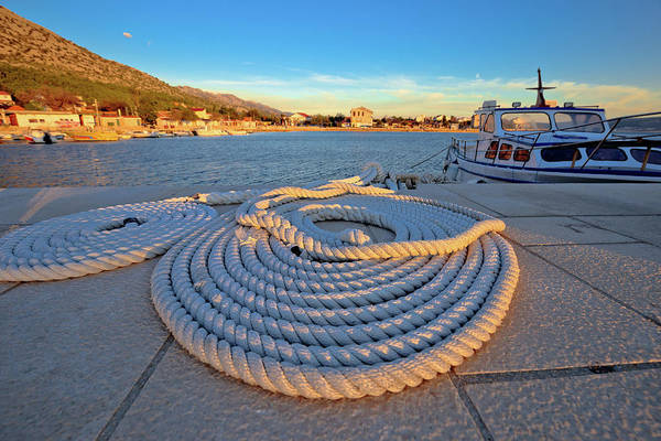 Starigrad Photograph - Boat Rope At Sunset View by Brch Photography
