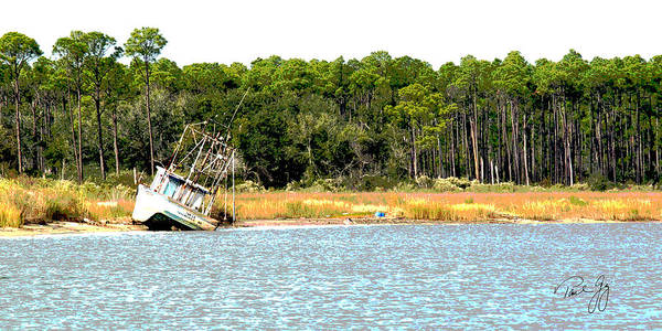 Wall Art - Photograph - Boat Series 2 Little River Grounded by Paul Gaj