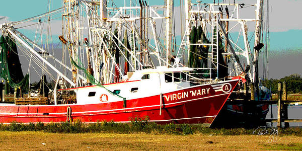 Wall Art - Photograph - Boat Series 25 Shrimp Boats 1 Docked Biloxi Bay by Paul Gaj