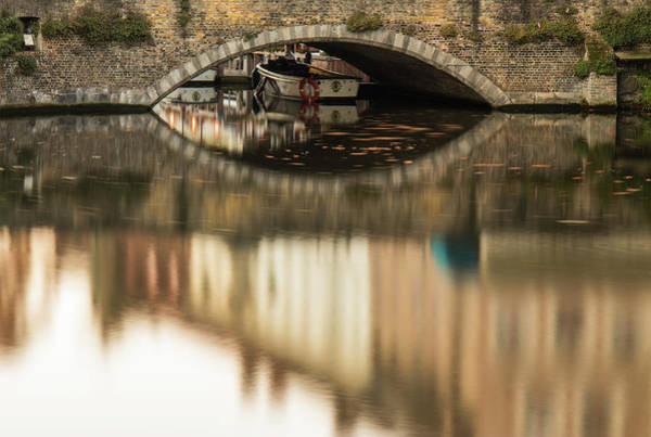 Photograph - Boat Waddling On Water Channels Of Bruges, Belgium by Dalibor Hanzal