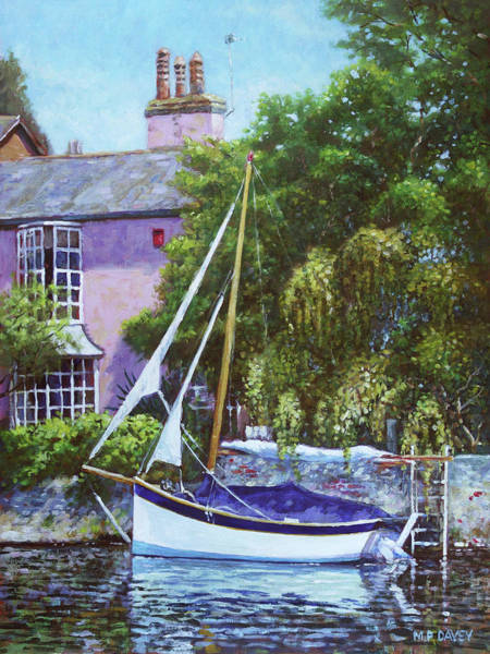 Slate Painting - Boat With Pink House On River by Martin Davey