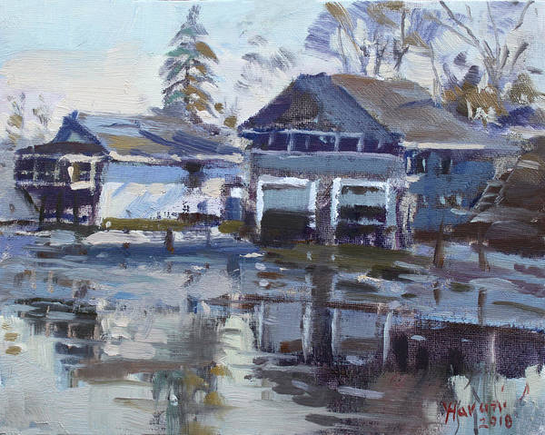 Wall Art - Painting - Boathouses By Icy Creek by Ylli Haruni