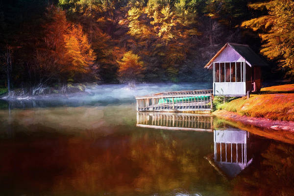 Photograph - Boathouse In Autumn Oil Painting by Debra and Dave Vanderlaan