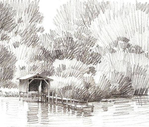 Wall Art - Drawing - Boathouse by Kevin Lawrence Leveque
