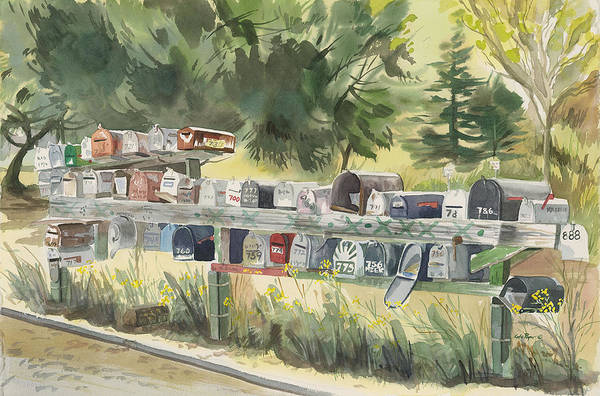 Sausalito Painting - Boathouse Mailboxes by Kate Peper