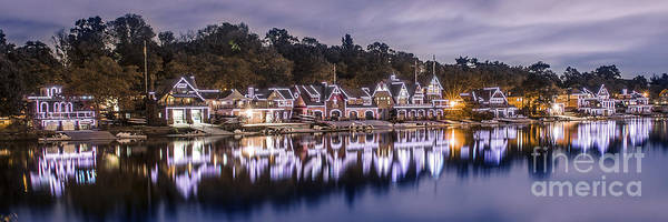 Wall Art - Photograph - Boathouse Row Night Blue by Stacey Granger
