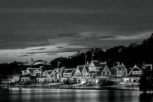 Photograph - Boathouse Row Philadelphia Pa Night Black And White by Terry DeLuco