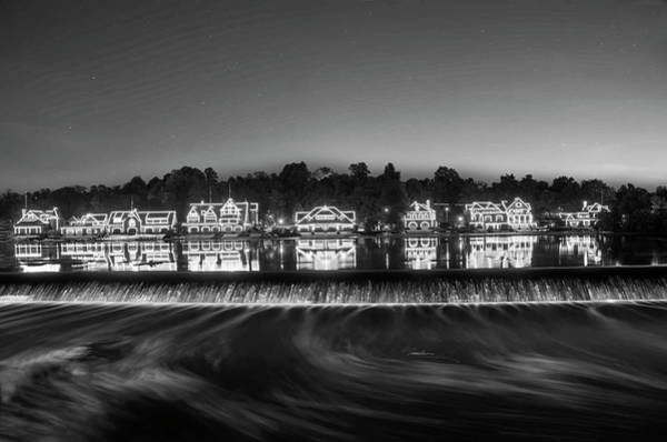 Photograph - Boathouse Row Sparkling In The Night  In Black And White by Bill Cannon